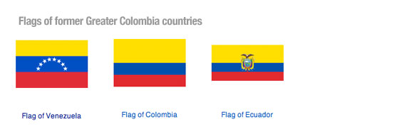 Flags of former Greater Colombia countries